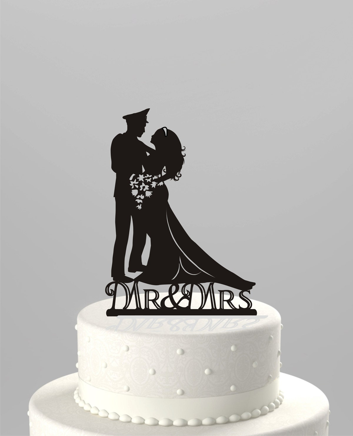 Bride Wedding Cake Topper: Wedding Cake Topper Silhouette Military Groom & Bride Acrylic