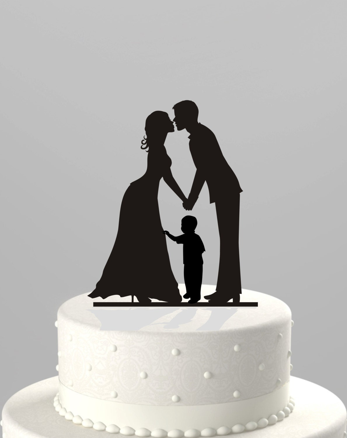 Ships Next Day Wedding Cake Topper Silhouette Groom and Bride