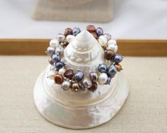 "ETS-B070 freshwater pearl bracelet, pearl beaded alloy chain bangle bracelet 7.5"", 1 piece"