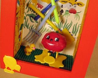 Happy Tomato Farm Shadow Box