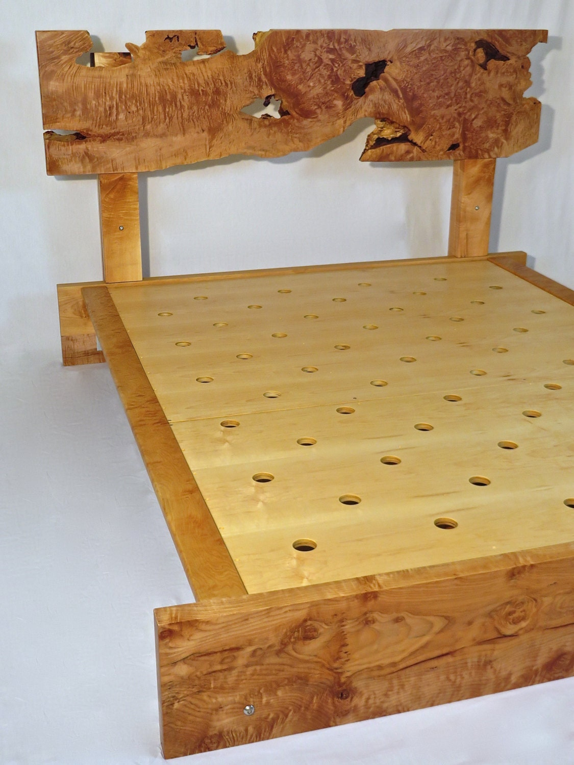 handcrafted live edge curly maple queen bed frame with matching solid wood curly maple nightstands
