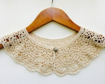 Ecru Lace Crocheted Peter Pan Collar, Necklace For Her, Gift for Her, Gift Ideas, For Mom, Summer