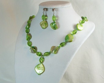 Lime Green Mother of Pearl Shell Nugget Necklace w/ Matching Earrings