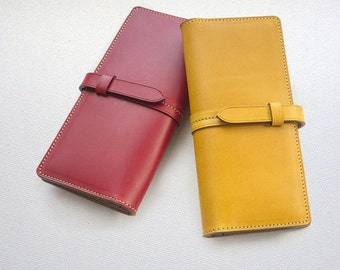 Handmade Women's long wallet clutch leather strap long wallet