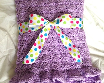 Baby Blanket - Lavender Shells with Ruffle - Crochet Baby Blanket (Made-to-Order)