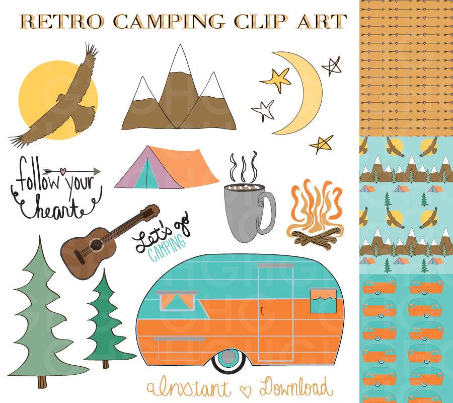 Camping Clip Art Retro Camper Clip Art Tent Clip Art
