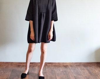 60s-inspired v-neck 3/4 sleeves neoprene tent dress/ maternity dress