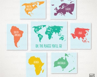 Kid's Room Large World Map Set / Playroom decor / Oh the places you'll go / Large world map poster / Nursery art
