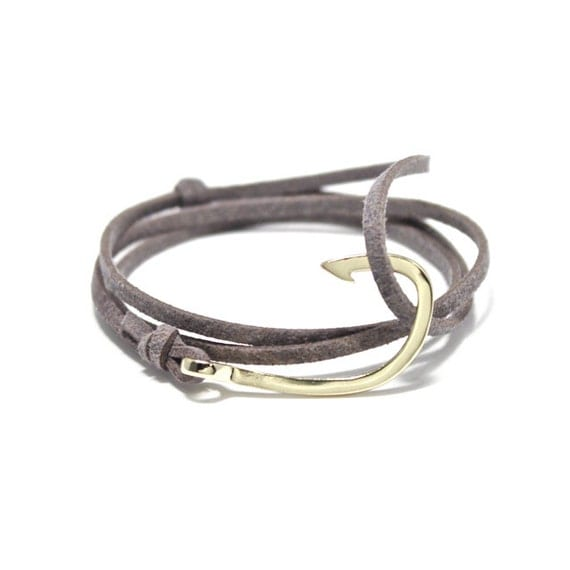 Gray suede fish hook bracelet leather by portuniontrading for Leather fish hook bracelet