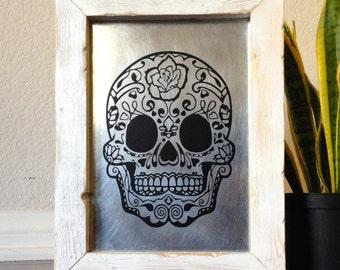 Day Of The Dead Sugar Skull Art Dia De Los Muertos Handmade Sugar Skull Sign Skull Decor Mexican Art Metal Sign
