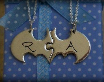 Two Piece Custom Batman Puzzle with Initials, best friend puzzle Batman necklaces friendship necklace. Fine Silver