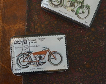 Resin Motorcycle Postage Stamp Magnets