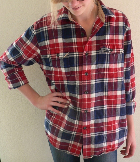 Vintage Oversized Red White And Blue Flannel Shirt
