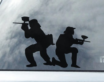 Paint Ball Players Standing Back to Back Vinyl Car Decal Sticker, Paintball vinyl Laptop Sticker, Paintball Decal