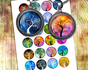 Tree of Life  Round Images 20mm 1 inch 25mm 30mm 1.5 inch Printables for Glass Pendants, Bottlecaps Digital Collage Sheet Instant Download