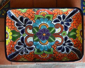 Talavera snack tray multi coloured