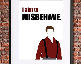 Firefly Poster   I Aim to Misbehave   Browncoat Serenity Poster   Instant Download Printable Poster   Joss Whedon, Nathan Fillion, Reynolds