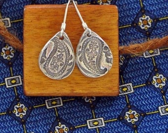 Fine Silver  Paisley Dangle Earrings: sweet and simple