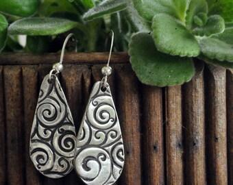 Fine Silver Dangle Earrings with Swirl Design