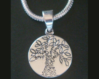 Tree of Life Necklace with Stamped Tree of Life Pendant with Words Creating the Tree Design - Lovely 925 Silver Tree of Life Jewelry 002