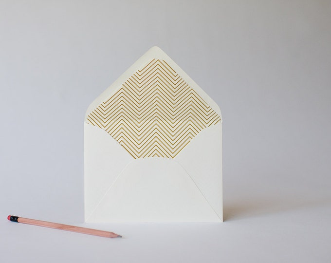 gold foil skinny chevron lined envelopes (sets of 10)  // lola louie paperie
