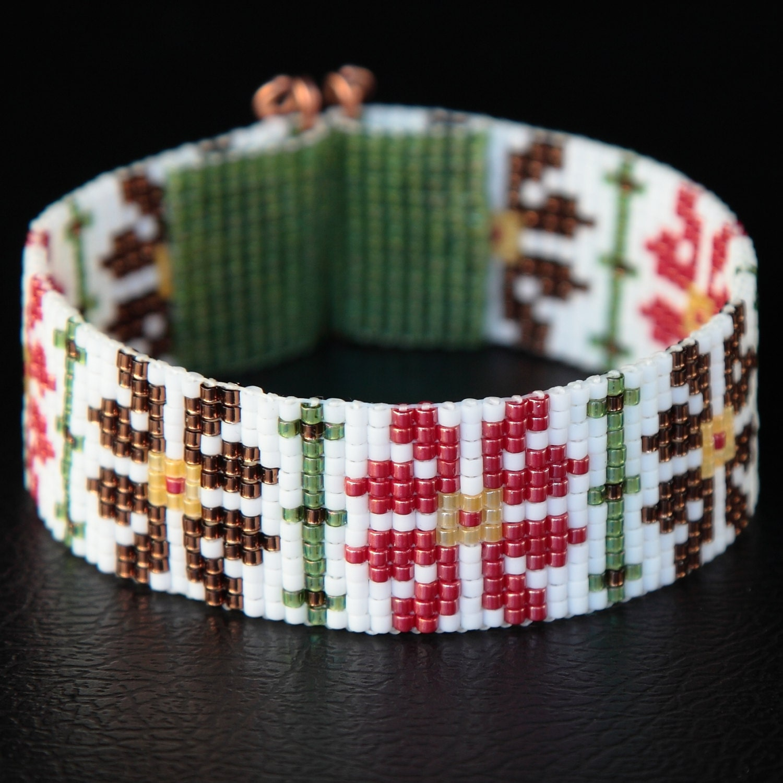 Amarylis Floral Bead Loom Cuff Bracelet Tribal Flowers Floral