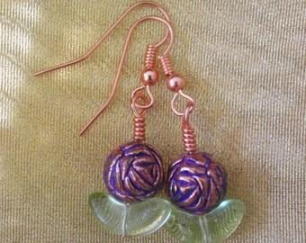 In the Garden - Purple copper flower earrings
