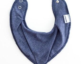 Scandinavian Style Bandana Bib for Baby Toddler -  Color: CHARCOAL BLUE