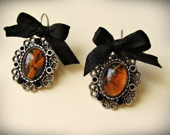 Victorian silver Earrings, Gothic, Steampunk, Lolita.