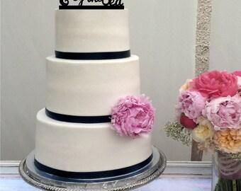 Seahorse You and Me Married by the Sea Beach Wedding Cake Topper - Destination Wedding -  Seahorse - Nautical - Cruise Wedding