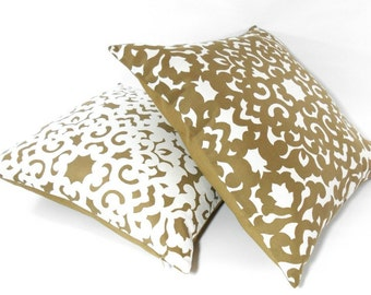 Free shipping/PAIR PILLOW COVERS 20x20 inches-Waverly fabric-Ivory-Beige-Jacquard-Throw pillow-Decorative pillow-Accent pillow-Handmade