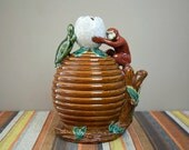 SALE Vintage Japanese Majolica Lamp Base / Monkey / Turtle/ Beehive
