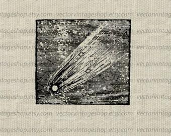 Vector Graphic Astronomy Instant Download, comet falling stars, Victorian decor scientific clipart, printable vintage illustration WEB1703AO