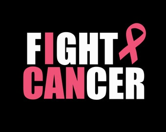 Fight Cancer I Can Breast Cancer Awareness Pink Ribbon Iron On Vinyl Or Glitter Vinyl Heat T-shirt Transfer