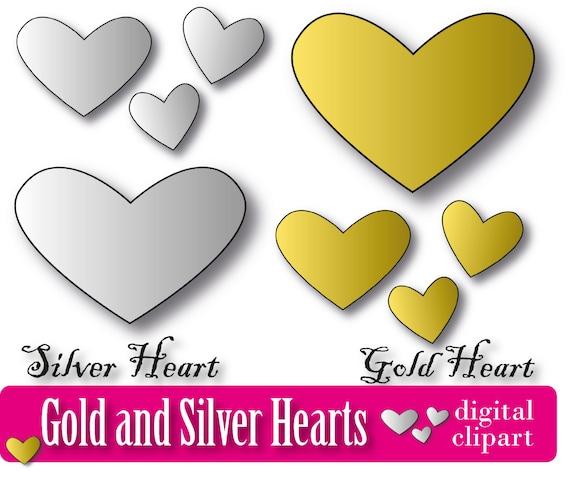 Gold Heart Digital Clipart Silver Heart Scrapbook metalic background Clip Art hearts die cut gold heart print silver heart valentines day