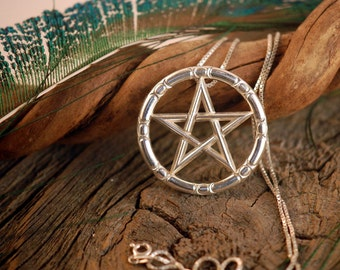 Lunar Pentacle ~ Wiccan Sabbats Wheel of the Year Pentagram ~ Goddess Star ~ Sterling Silver Pendant