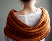 Ready to Ship - Wool Cowl Shawl Scarf in Autumn Fall Colors - Orange, Yellow, Purple