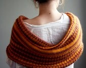 Ready to Ship - Wool Cowl Shawl Scarf in Autumn Fall Colors - Orange, Yellow, Purple