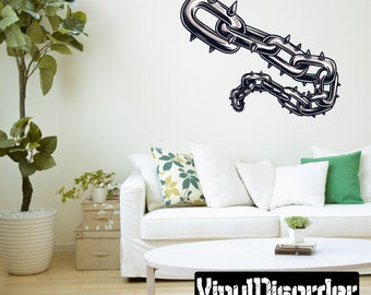 Symbol Spiked Chain Wall Decal - Wall Fabric - Vinyl Decal - Removable and Reusable - SymbolChainUScolor001ET
