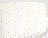 Woolf With Me™ Fitted Crib Sheet in White and Gold Polka Dot // Additional Colors