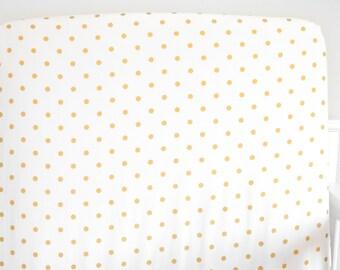 Crib Sheet Gold Polka Dots // Additional Colors, Fitted Crib Sheet, Organic Crib Sheet, Crib Bedding, Organic Crib Sheet, Crib Sheets