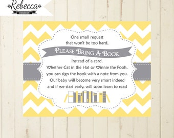 Baby Shower Book Request Bring A Book Instead Of A Card Baby Shower Invite  Book For Baby Shower Card Gray Yellow Baby Library 103 134