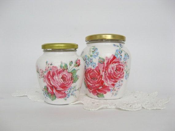 2 botes decorados a mano almacenamiento cocina tarros - Frascos de vidrio decorados ...