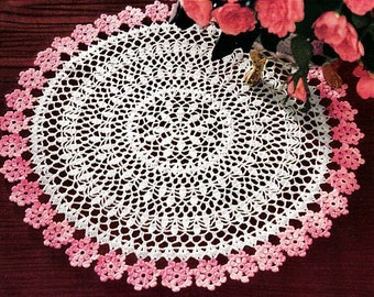 2 Color Crochet Flowers Doily Pattern Retyped Large Print Pattern PDF # ST124-2