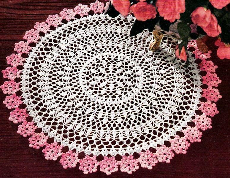 Crochet Flower Doily Patterns : 2 Color Crochet Flowers Doily Pattern Retyped Large Print