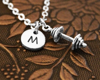 Barbell Necklace, Initial Necklace, Personalized Pendant Necklace, Dumbbell Necklace, Exercise Charm, Monogram Necklace, Weightlifter Gift