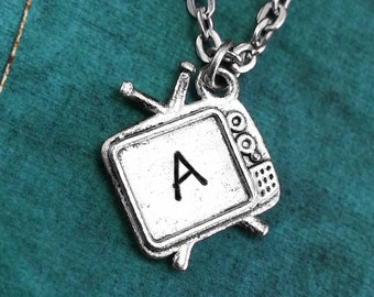 TV Necklace, Personalized Necklace, TV Pendant, Custom Necklace, Television Necklace, Monogram Necklace, Silver Tv Charm Necklace, Tv Gift