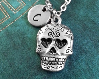 Sugar Skull Necklace Day Of The Dead Necklace Personalized Jewelry Dia de los Muertos Necklace Silver Sugar Skull Charm Necklace Halloween