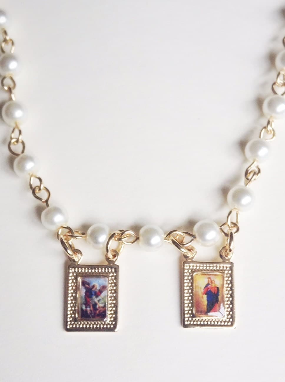 scapular necklace pearl rosary gold michael