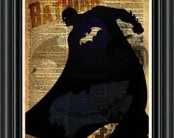 BatMan art print - The Dark Knight -SuperHero pop art print  - Retro Super Hero Art - Dictionary print art
